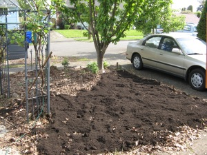 Adding soil in the flower bed