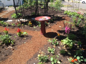 Birdbath with water lillies